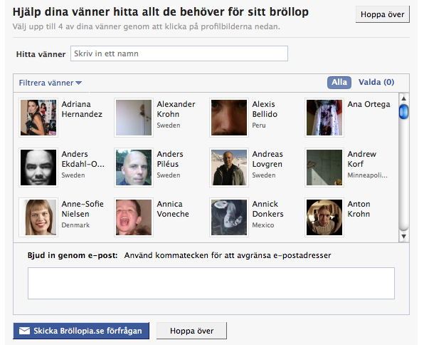 Bjud in Facebook vänner